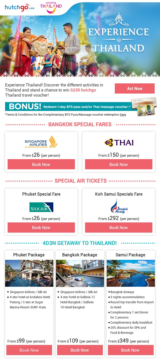 Experience Thailand! 4D3N package fr $99 Only! Win S$50 Travel Voucher!