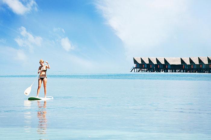 馬爾代夫椰林樹影熱帶假期
